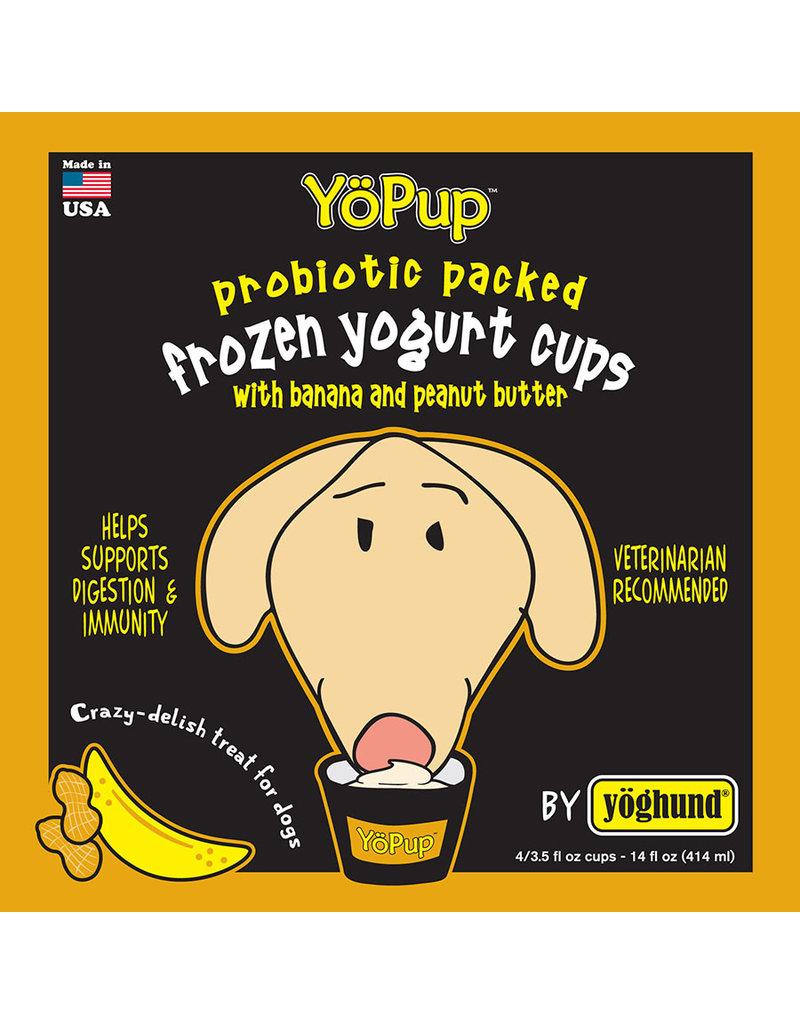 Yoghund Yo Pup Frozen Yogurt Cups Banana & Peanut Butter Dog Treats, 4-pk