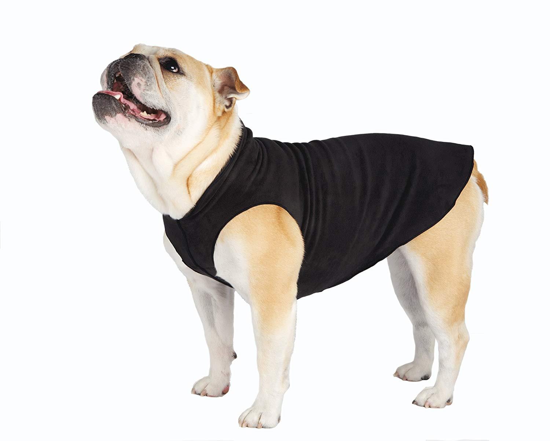 Gold Paw Stretch Fleece Black Dog Coat, 30