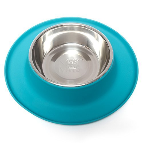 Messy Mutts Silicone Cat Feeder, Blue , Medium