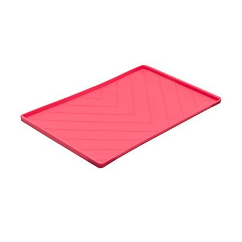 Messy Mutts Silicone Mat with Metal Rods, Red, Large