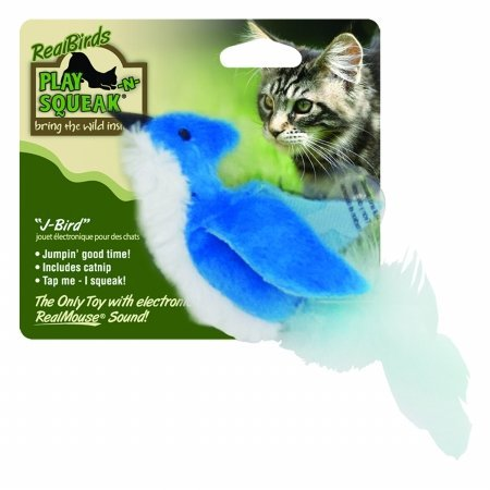 OurPets Play-N-Squeak Real Bird J-Bird Cat Toy