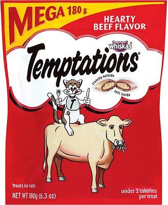 Temptations Hearty Beef Flavor Cat Treats, 6.3-oz bag