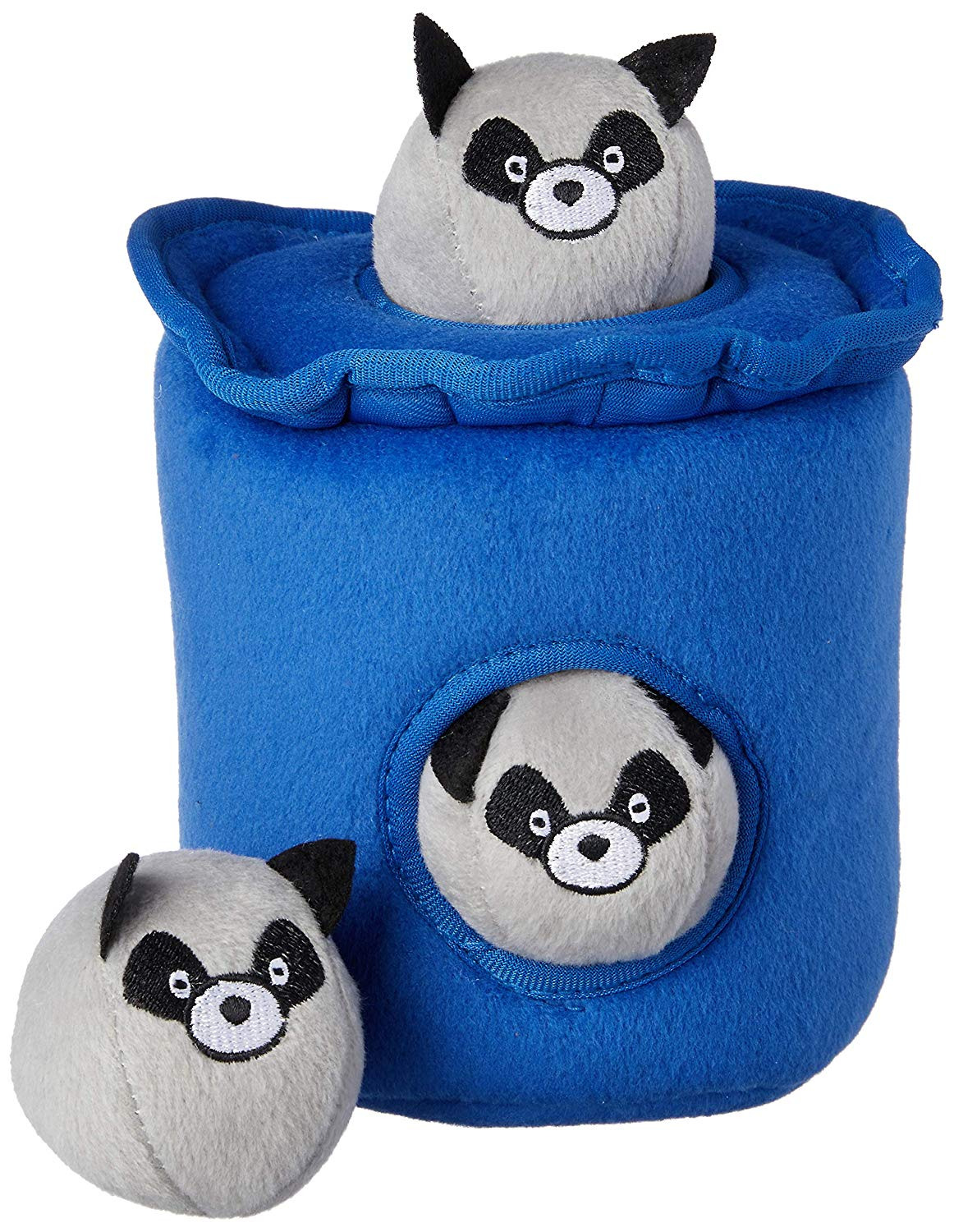 ZippyPaws Burrow Squeaky Hide and Seek Plush Dog Toy, Raccoons in Trash Can