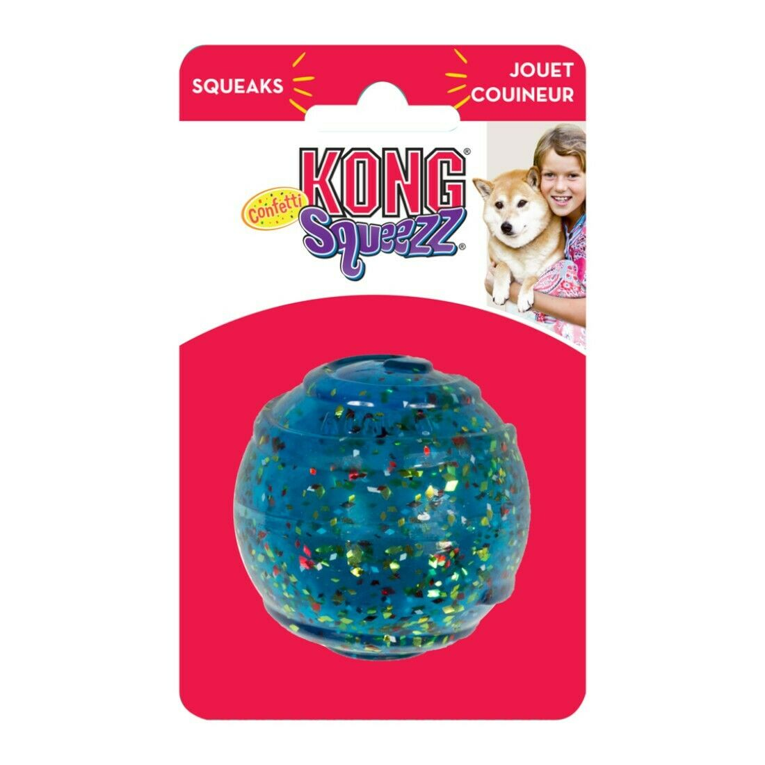 KONG Squeezz Confetti Ball Dog Toy, Large