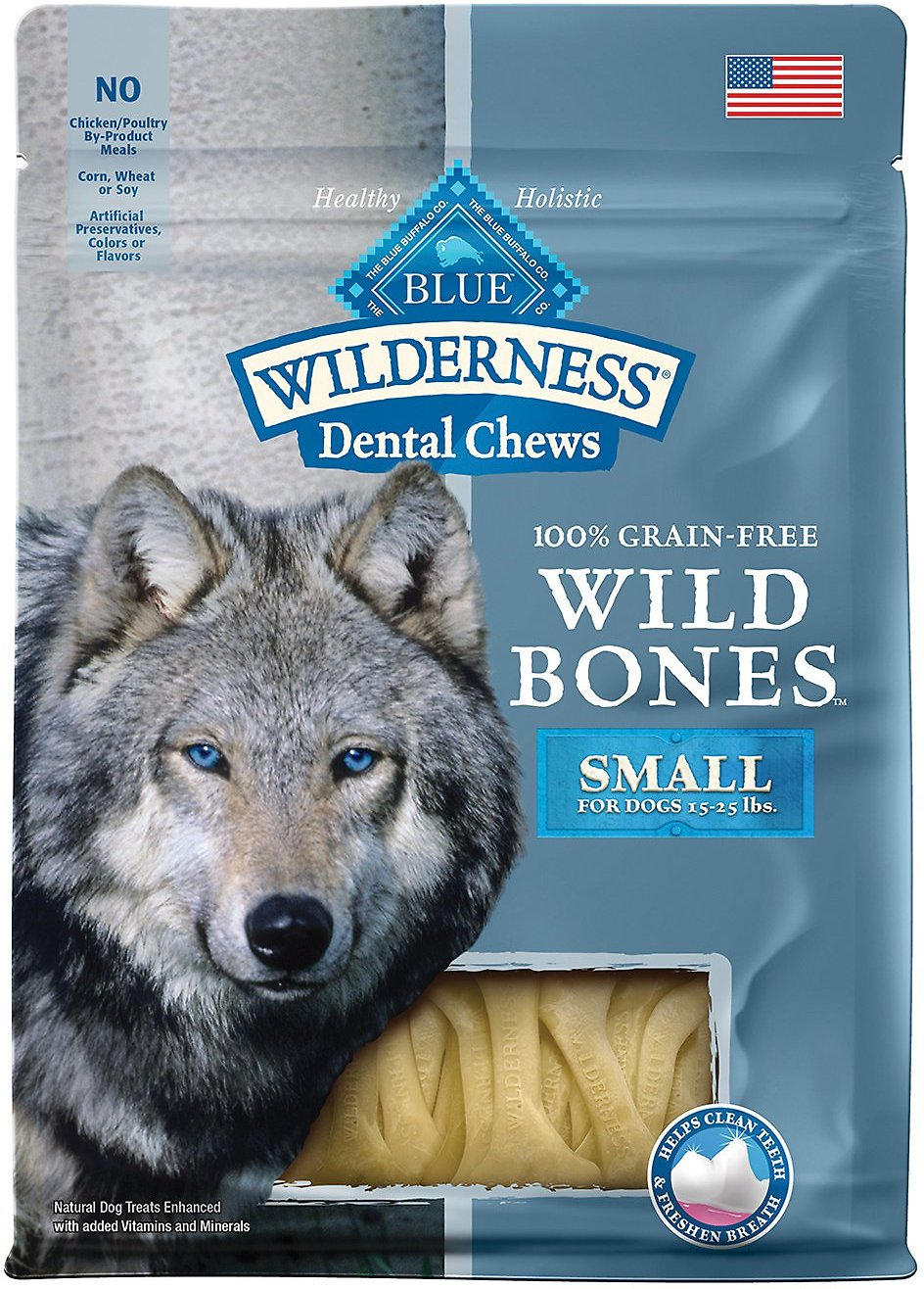 Blue Buffalo Wilderness Wild Bones Small Dental Chews Grain-Free Dog Treats, 10-oz bag