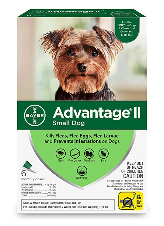 Bayer Advantage II Flea Treatment for Small Dogs 3-10 lbs, 6-count
