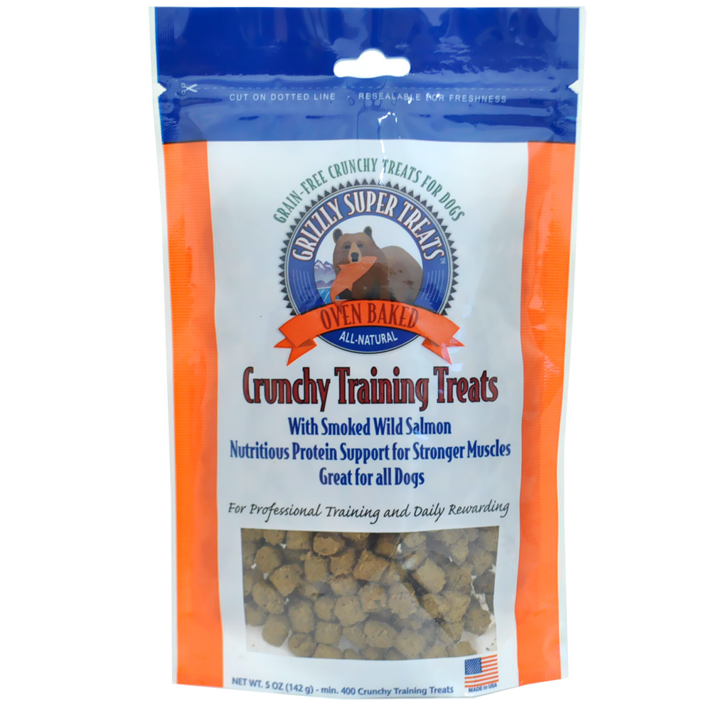 Grizzly Crunchy Training Treats Smoke Wild Salmon Dog Treats, 0.5-oz
