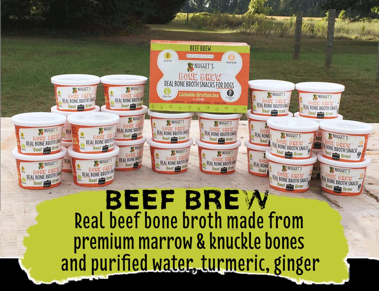 Nugget's Healthy Eats Beef Bone Broth Dog Treats, 4-oz