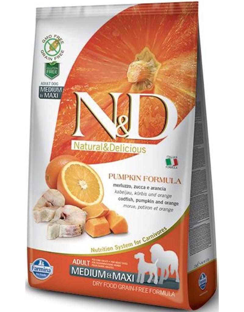Farmina Natural & Delicious Pumpkin Codfish & Orange Adult Medium & Maxi Dog Dry Food Formula, 5.5-lb