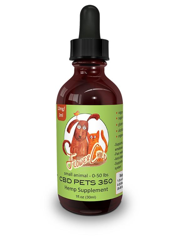 Flower Child - Pet Alternative Supplement 350 TINCTURE - SMALL ANIMAL BLEND, 1-oz bottle