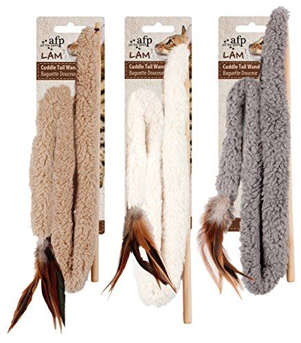 All For Paws Lamb Cuddle Tail Wand Cat Toy, Color Varies, 30-in