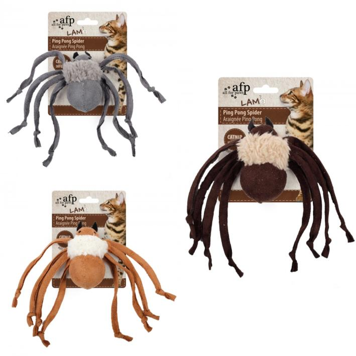All For Paws Lamb Ping Pong Spider Cat Toy, Color Varies