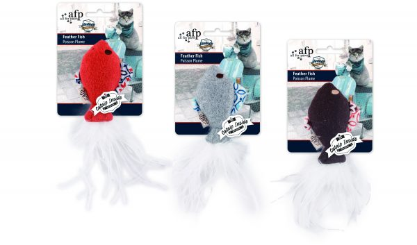 All For Paws Vintage Feather Fish Cat Toy, Color Varies