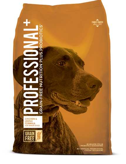 Diamond Professional+ Chicken & Lentils Formula Senior Dry Dog Food, 28-lb