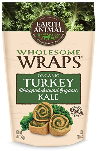 Earth Animal Wholesome Wraps Turkey & Kale Dog Treats, 5-oz