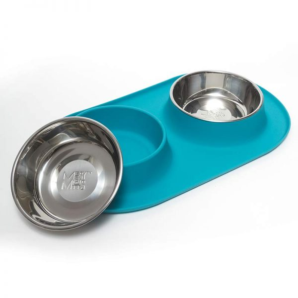 Messy Mutts Silicone Double Feeder, Blue, Medium