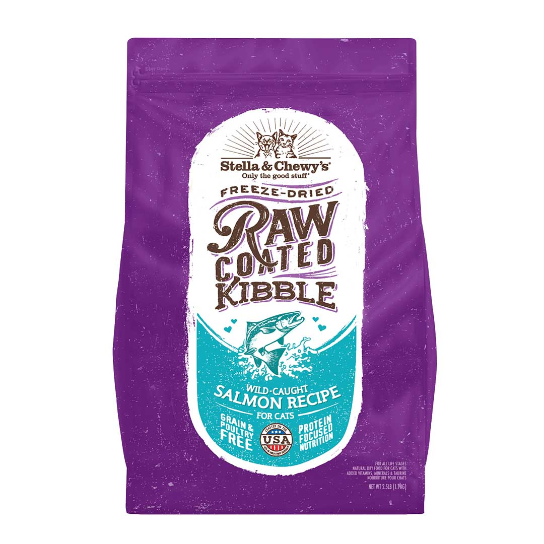Stella & Chewy's Raw Coated Kibble Salmon Recipe Dry Cat Food, 5-lb