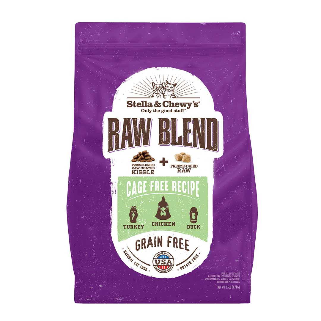 Stella & Chewy's Raw Blend Cage Free Recipe Freeze-Dried Raw & Dry Cat Food, 2.5-lb
