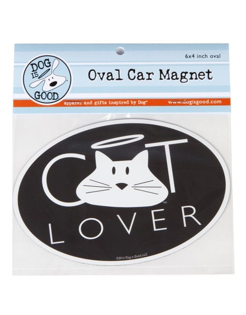 "Dog is Good ""Cat Lover"" Oval Car Magnet"