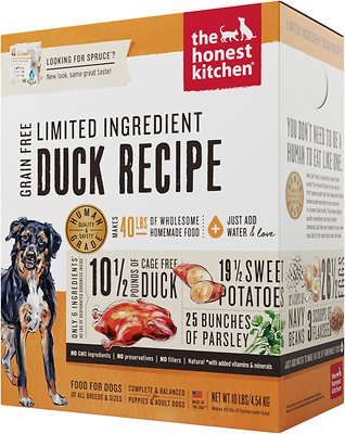 The Honest Kitchen Limited Ingredient Diet Duck Recipe Grain-Free Dehydrated Dog Food, 10-lb box