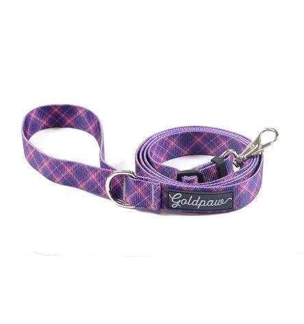 Gold Paw Adjustable Dog Leash, Mulberry Plaid