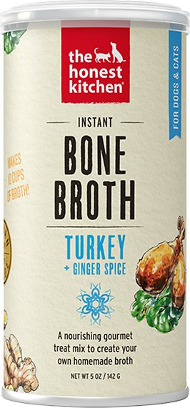 The Honest Kitchen Bone Broth Turkey Bone Broth with Ginger Dog & Cat Supplement, 5-oz jar