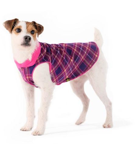 Gold Paw Duluth Double Fleece Dog Coat, Mulberry Plaid/Fuchsia, 6