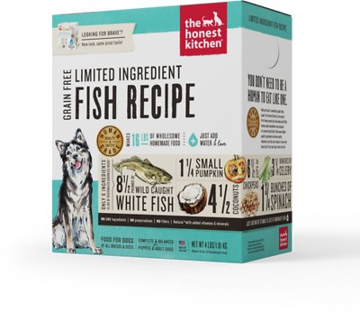 The Honest Kitchen Limited Ingredient Diet Fish Recipe Grain-Free Dehydrated Dog Food, 4-lb box