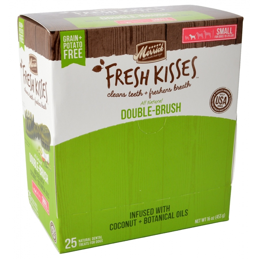 Merrick Fresh Kisses Double-Brush Coconut Oil & Botanicals Small Grain-Free Dental Dog Treats, 25-count