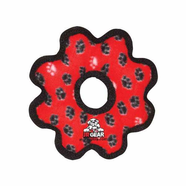 Tuffy's Junior Gear Ring Dog Toy, Red Paw