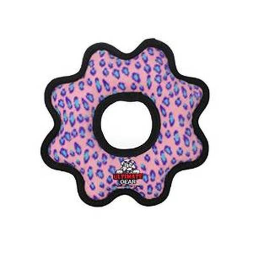 Tuffy's Ultimate Gear Ring Dog Toy, Pink Leopard