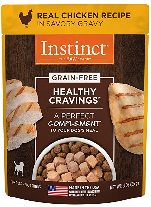 Instinct by Nature's Variety Healthy Cravings Grain-Free Real Chicken Recipe Wet Dog Food Topper, 3-oz, case of 24