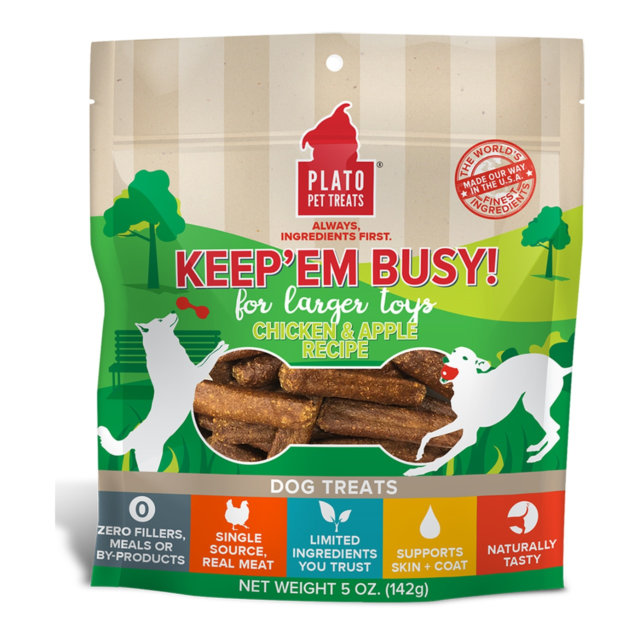 Plato Keep Em' Busy! Chicken & Apple Recipe Large Toy Stuffer Dog Treats, 5-oz