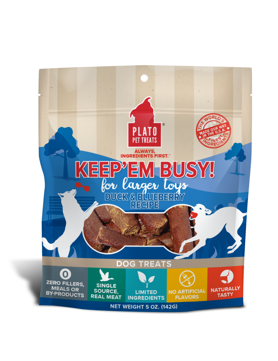 Plato Keep Em' Busy! Duck & Blueberry Recipe Large Toy Stuffer Dog Treats, 5-oz