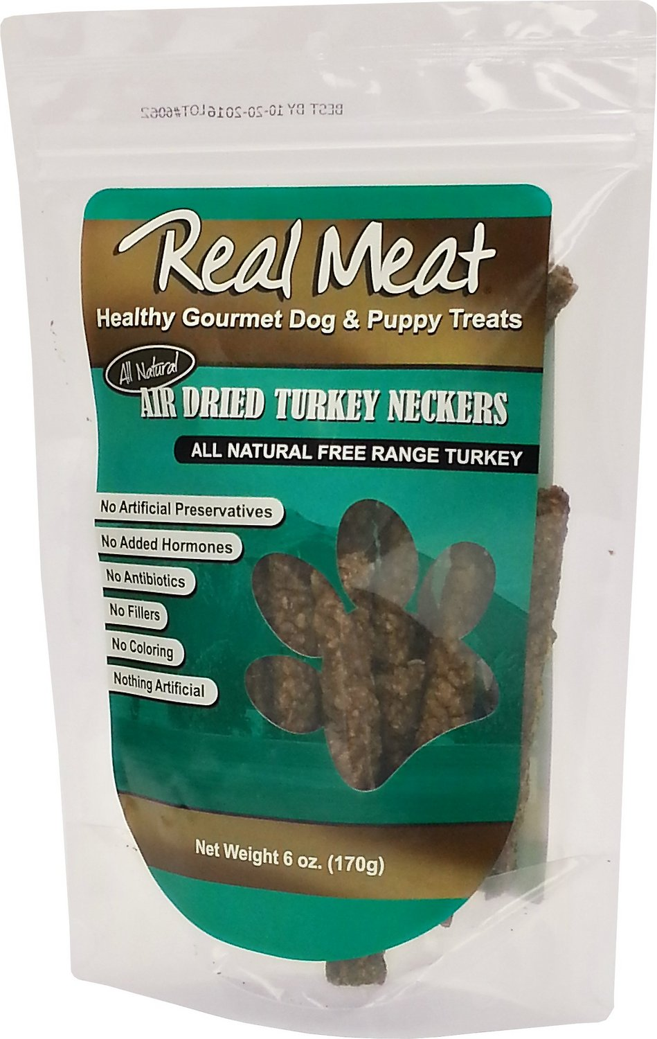 The Real Meat Company Turkey Neckers Air-Dried Dog Treats, 6-oz