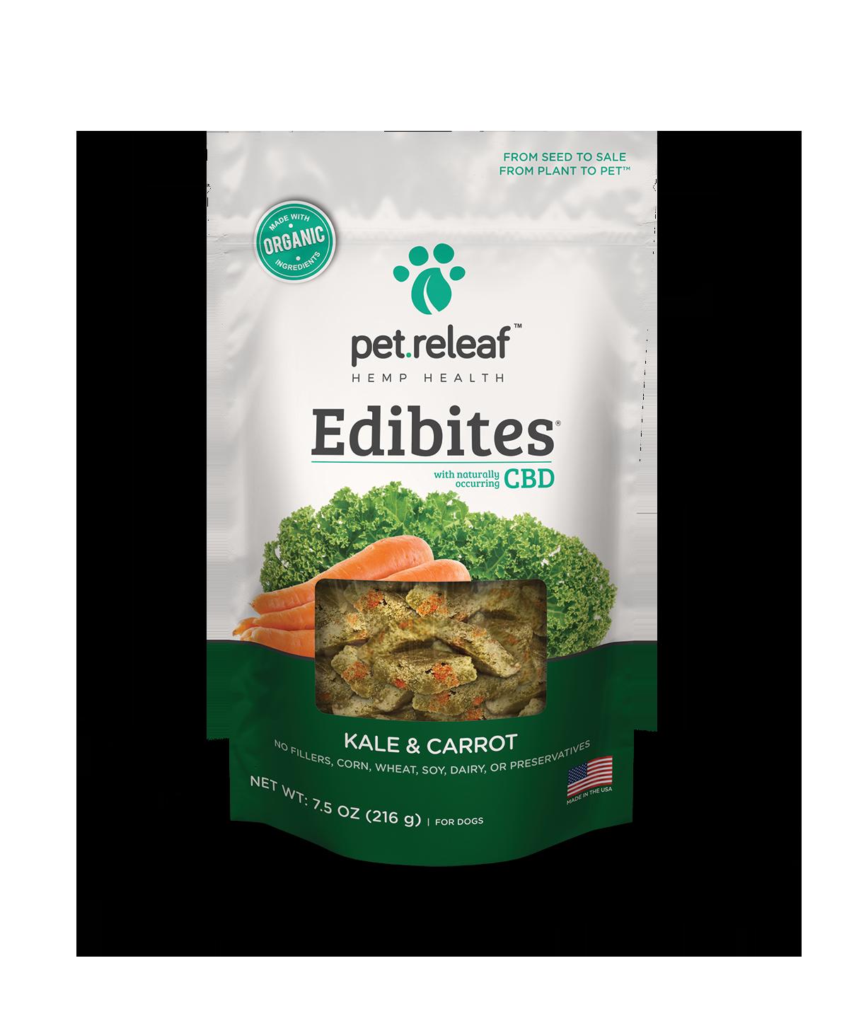 Pet Releaf 'Edibites' Kale and Carrot Alternative Supplement Oil Dog Treat, 7.5-oz bag