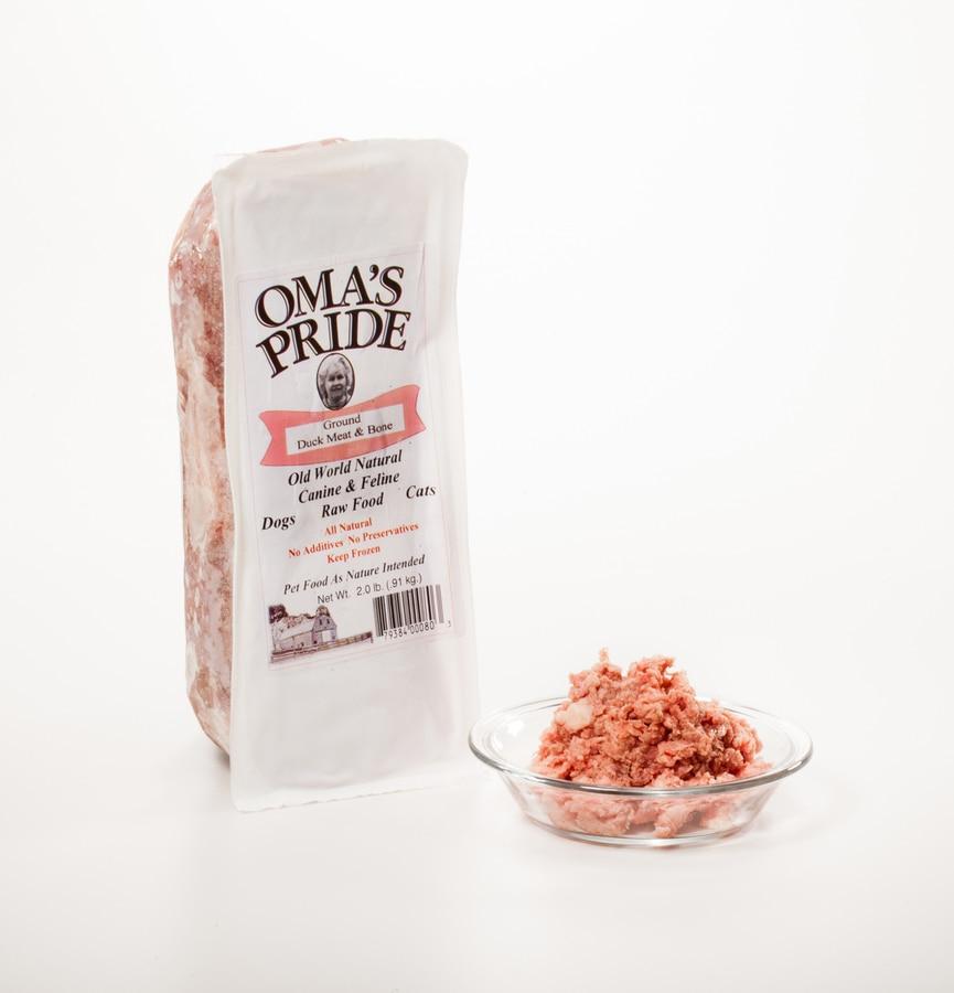 Oma's Pride Ground Duck Meat & Bone Frozen Dog & Cat Food, 2-lb