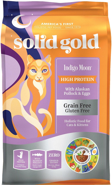 Solid Gold Indigo Moon High Protein Wild Alaskan Pollock & Eggs Recipe Grain-Free Dry Cat Food, 3-lb