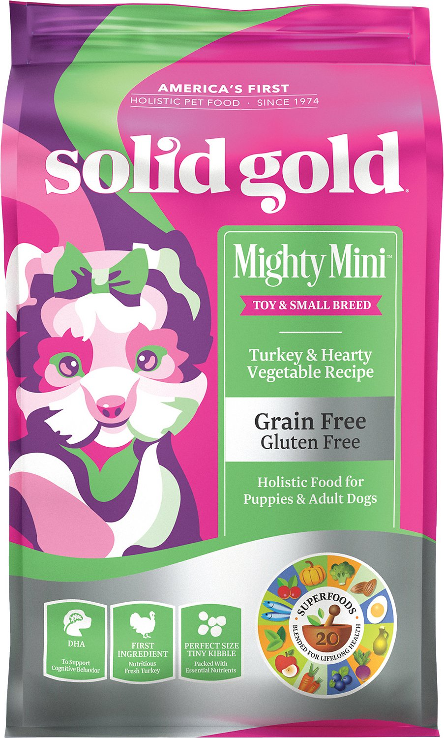 Solid Gold Mighty Mini Turkey & Hearty Vegetable Recipe Grain-Free Dry Dog Food, 11-lb