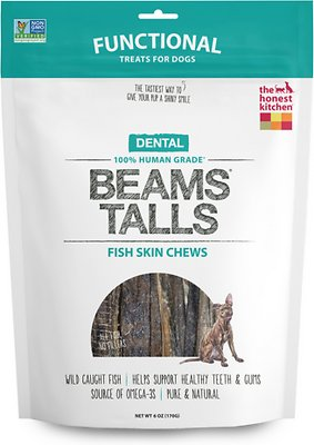 The Honest Kitchen Dental Beams Dehydrated Fish Skin Chews Dog Treats, Tall, 6-oz