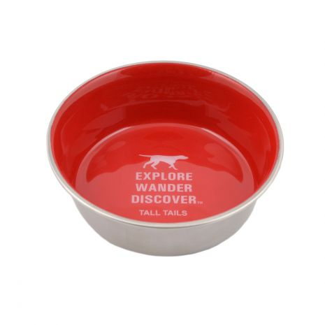 Tall Tails Dog Stainless Steel Dog Bowl, Red, 1.5-cup