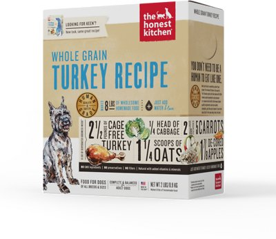 The Honest Kitchen Whole Grain Turkey Recipe Dehydrated Dog Food, 2-lb box