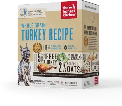 The Honest Kitchen Whole Grain Turkey Recipe Dehydrated Dog Food, 4-lb box Weights: 4.0 pounds, Size: 4-lb box