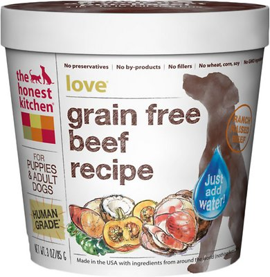 The Honest Kitchen Grain-Free Beef Recipe Dehydrated Dog Food, 3-oz cup, case of 8