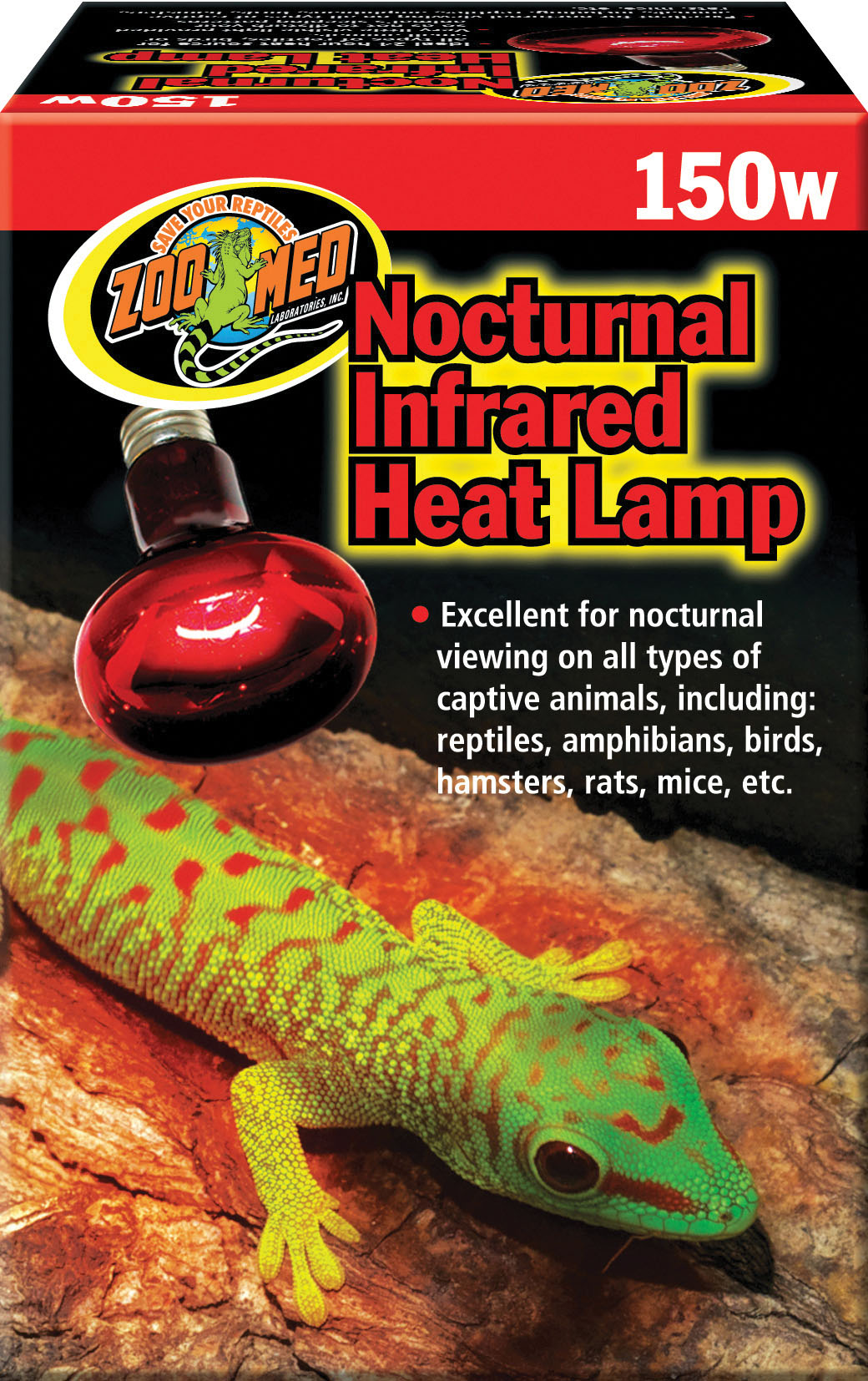 Zoo Med Nocturnal Infrared Reptile Heat Lamp, 150-watt