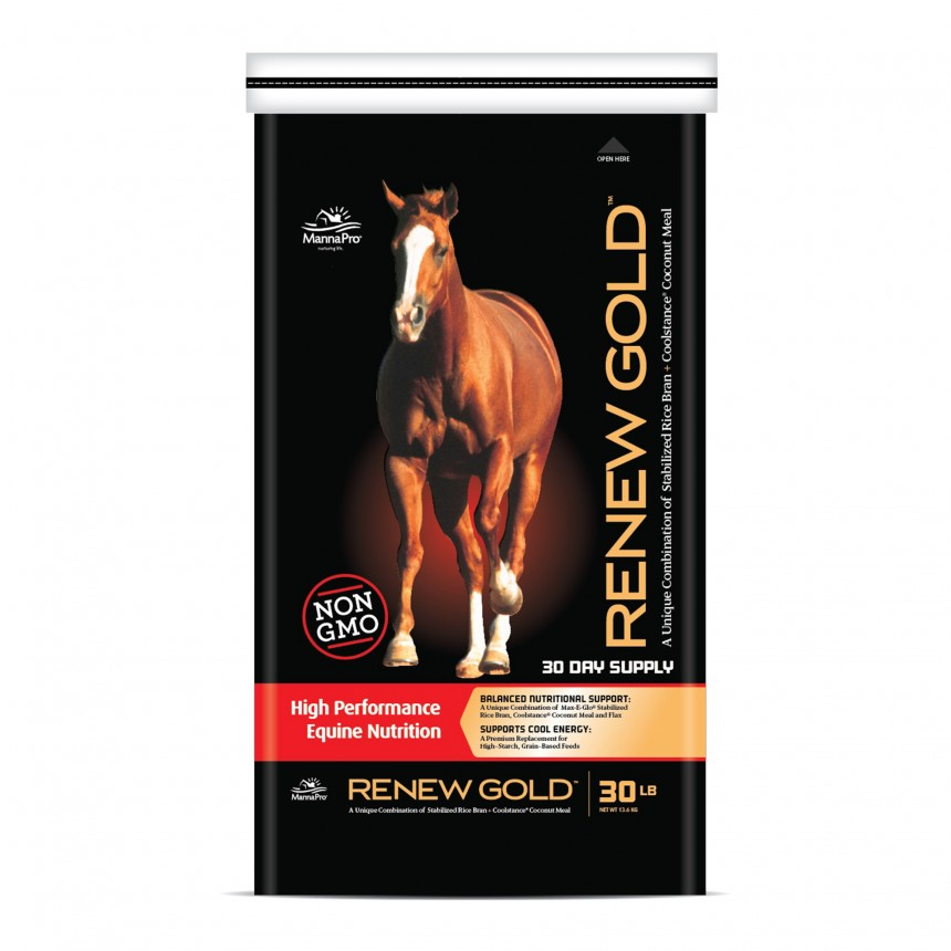 Manna Pro Renew Gold High Performance Equine Nutrition Horse Supplement, 30-lb