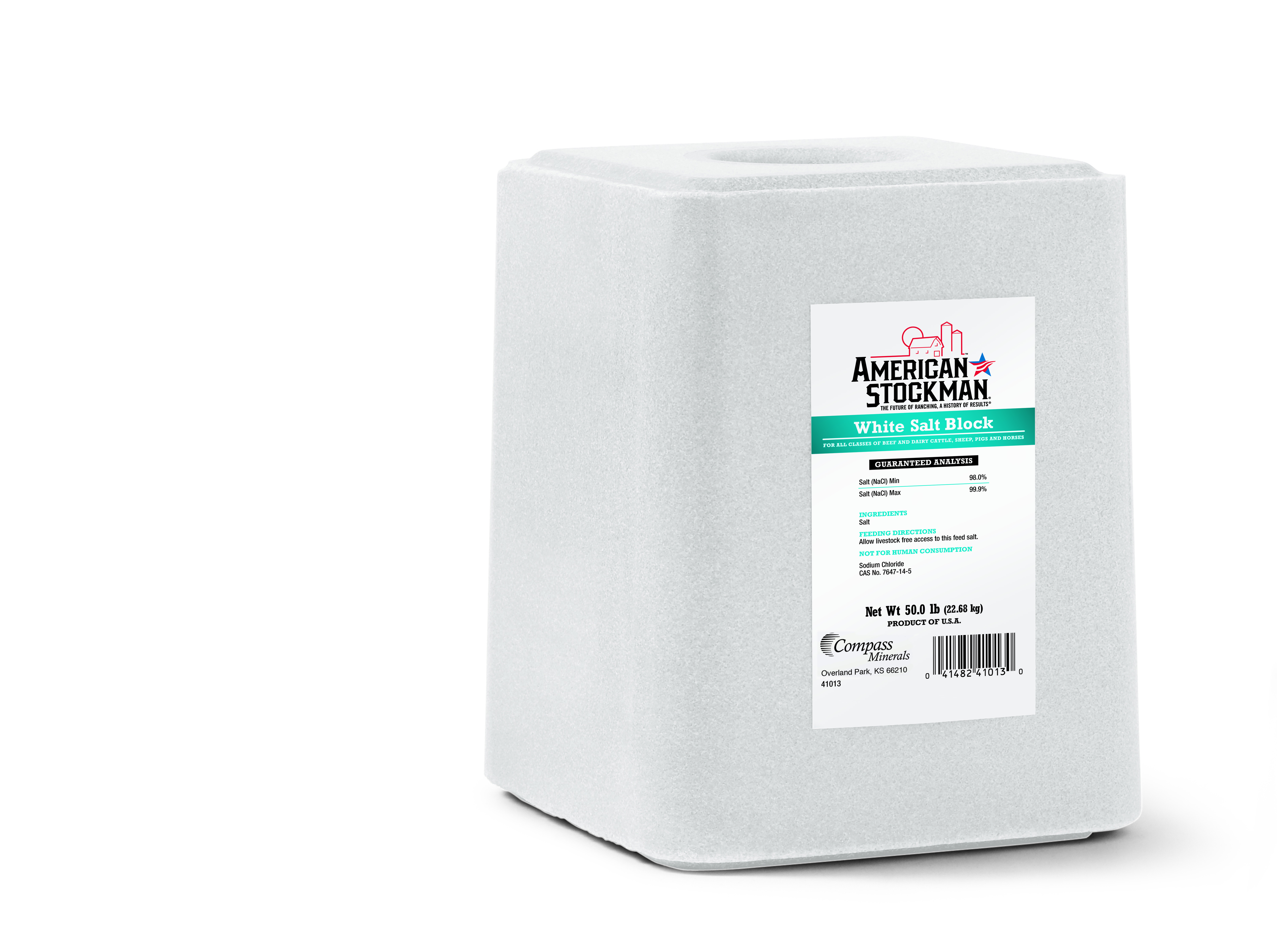 American Stockman White Salt Block Horse Supplement Size: 50-lb