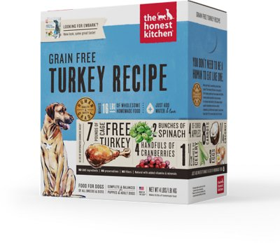 The Honest Kitchen Grain-Free Turkey Recipe Dehydrated Dog Food, 4-lb box