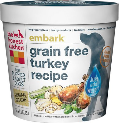 The Honest Kitchen Grain-Free Turkey Recipe Dehydrated Dog Food, 3-oz cup, case of 8