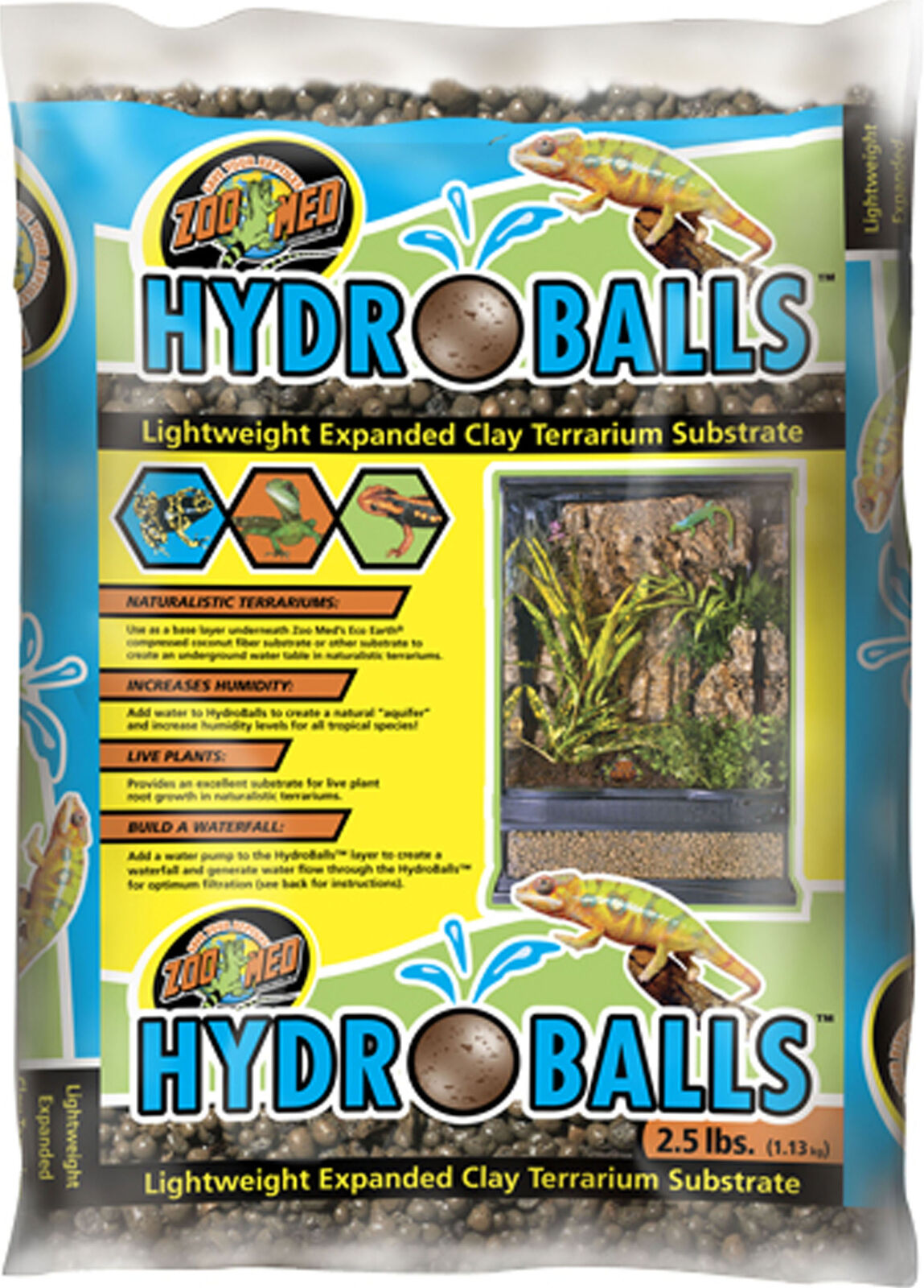 Zoo Med Hydroballs Expanded Clay Terrarium Substrate, 2.5-lb bag